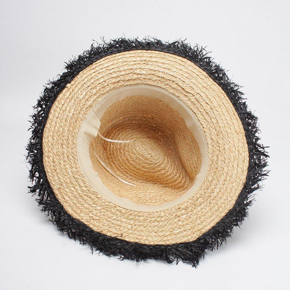 AOBRITON Summer Women Straw Ladies Panama Hat Female for Vacation Beach Travel Fashion