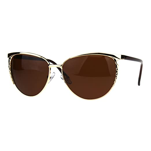 00de40a5732 Womens Polarized Metal Frame Designer Fashion Butterfly Sunglasses Gold  Brown
