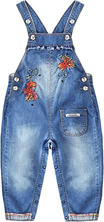 Kidscool Space Baby /& Toddler Girls Floral Embroidered Cute Jeans Overalls Dresses