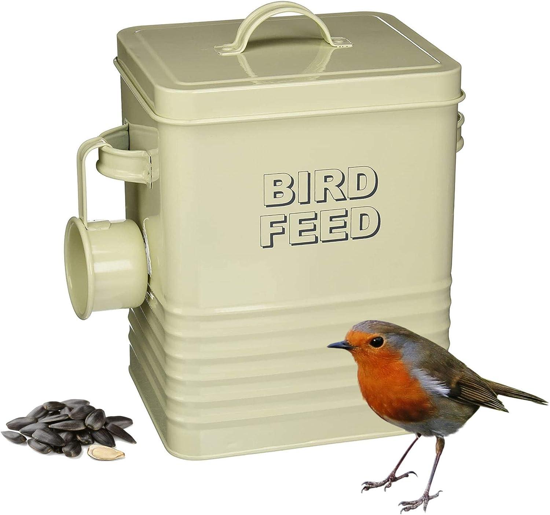 Lesser & Pavey Sweet Home Bird Feed Tin with Metal Scoop | Cream Enamel Bird Seed Storage Container with Feed Scoop | Metal Bird Seed Storage or Squirrel Food Kitchen Storage