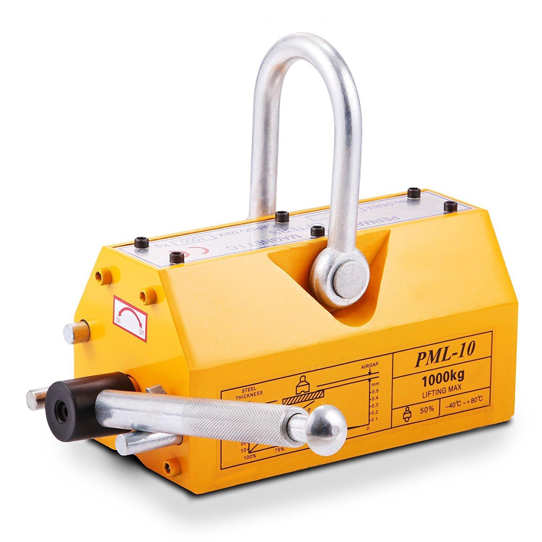 FORAVER 1000 KG Steel Magnetic Lifter 2200LB Metal Lifting Magnet Neodymium Heavy Duty Magnetic Lift Hoist Shop Crane (1000KG 2200LB)