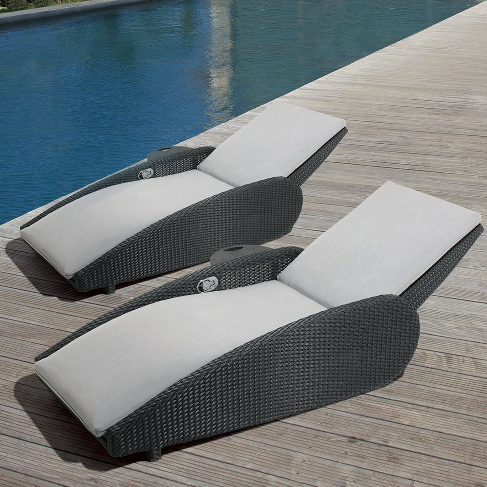 Amazon Com Ove Decors Sevilla 2 Pk Grey Outdoor Lounge Chairs