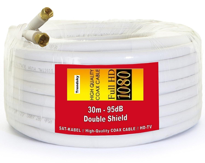 TRENDSKY 30 metros de cable de antena coaxial SAT Cable Satélite Cable de acero, cobre, para Full HD TV, 3d, DVB-S/S2 DVB-C y DVB-T BK Instalaciones, ...