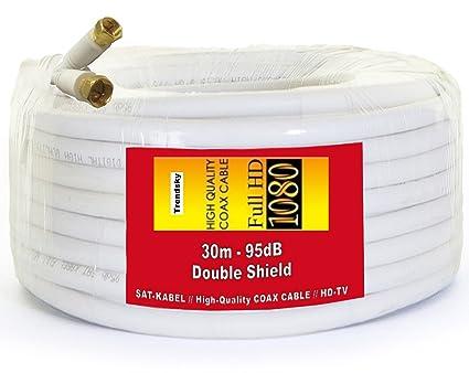 TRENDSKY 30 metros de cable de antena coaxial SAT Cable Satélite Cable de acero, cobre