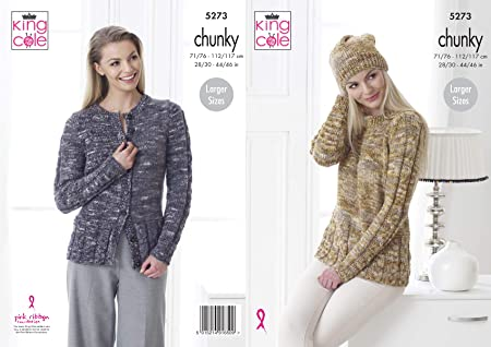 King Cole Ladies Chunky Knitting Pattern Womens Cabled Sweater Cardigan & Hat (5273)