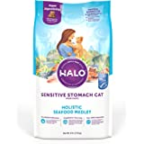 Halo Natural Dry Cat Food - Sensitive Stomach Recipe - Premium and Holistic Seafood Medley - 6 Pound Bag - Sustainably…