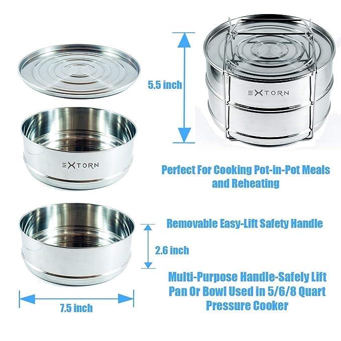 EXTORN// apilable acero inoxidable alta presión cocina Steamer / insertar sartenes con Sling / fácil de usar / cocinar Fit 5, 6, 8 quart instantáneo olla ...