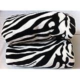 Queen Blanket Sumptuously Soft Plush Black Zebra Animal Print Blankets / Reversible