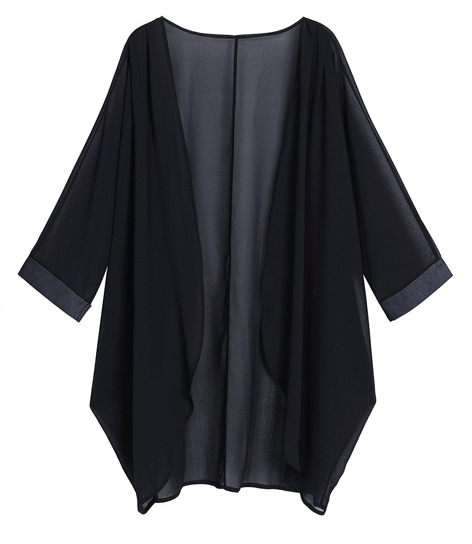 Sipaya Women's Black Chiffon Cardigan Kimono Cardigan Cover up L