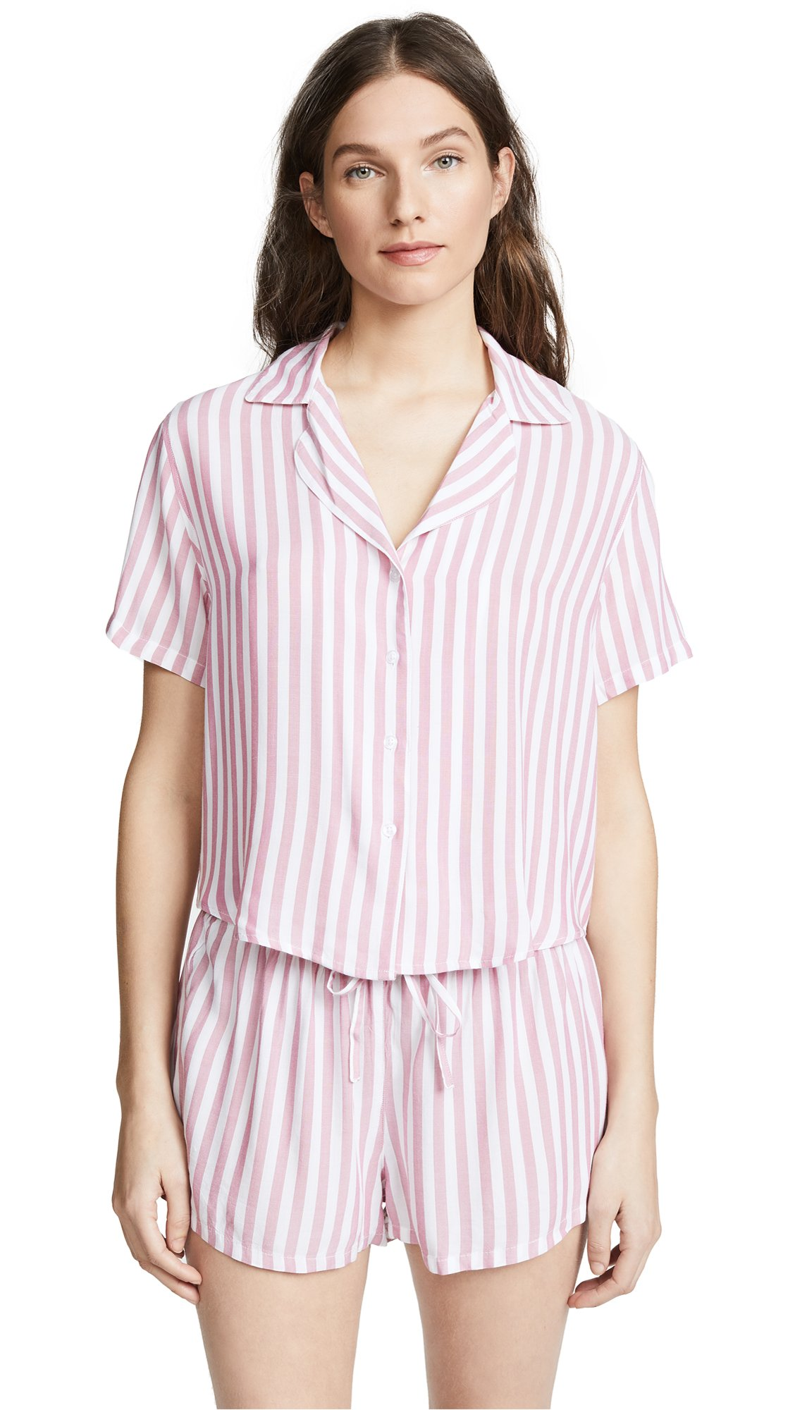 Rails Women's Short Sleeve Short PJ Set, Garnet White Stripe, X-Small