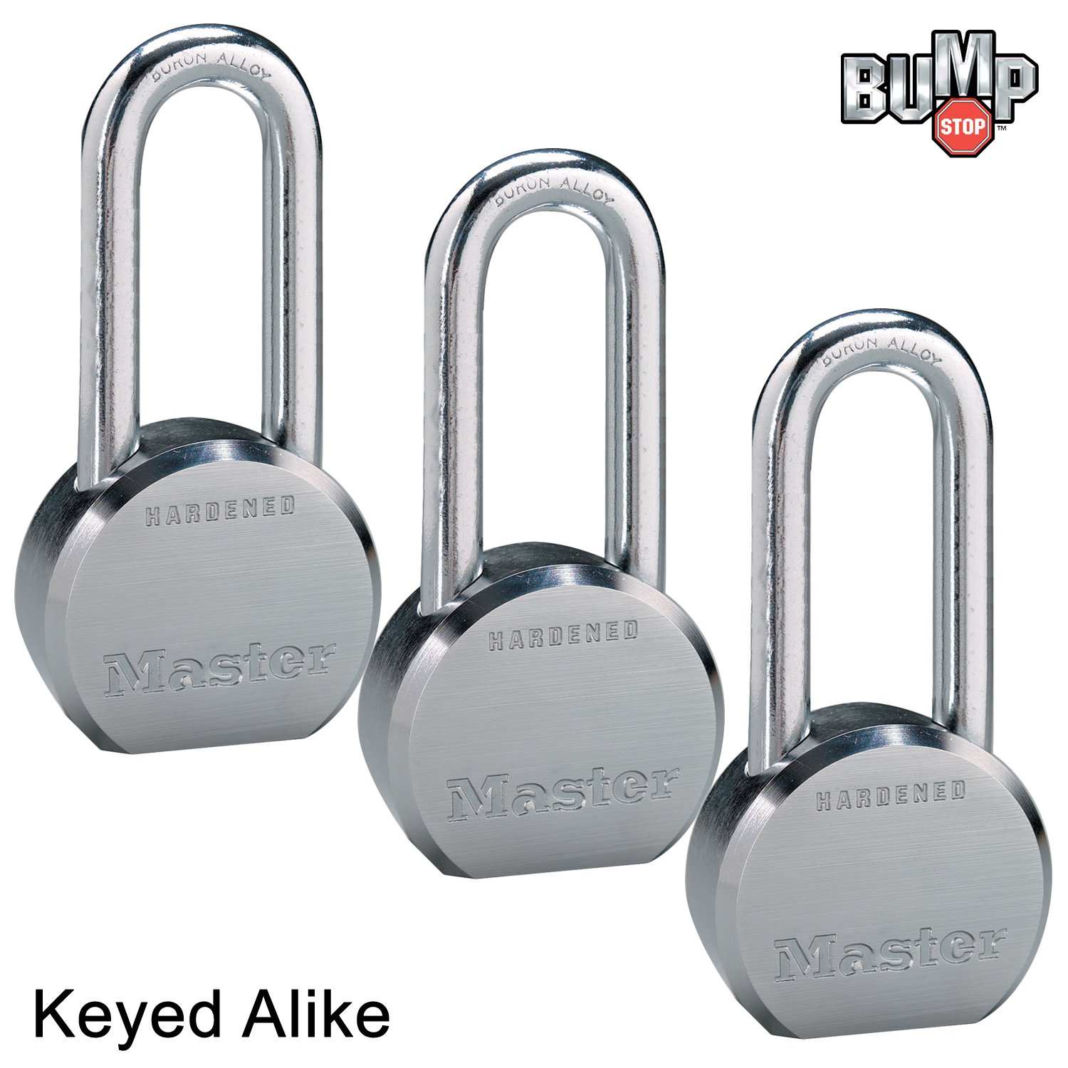 Master Lock - (3) High Security Pro Series Keyed Alike Padlocks 6230NKALH-3 w/ BumpStop Technology