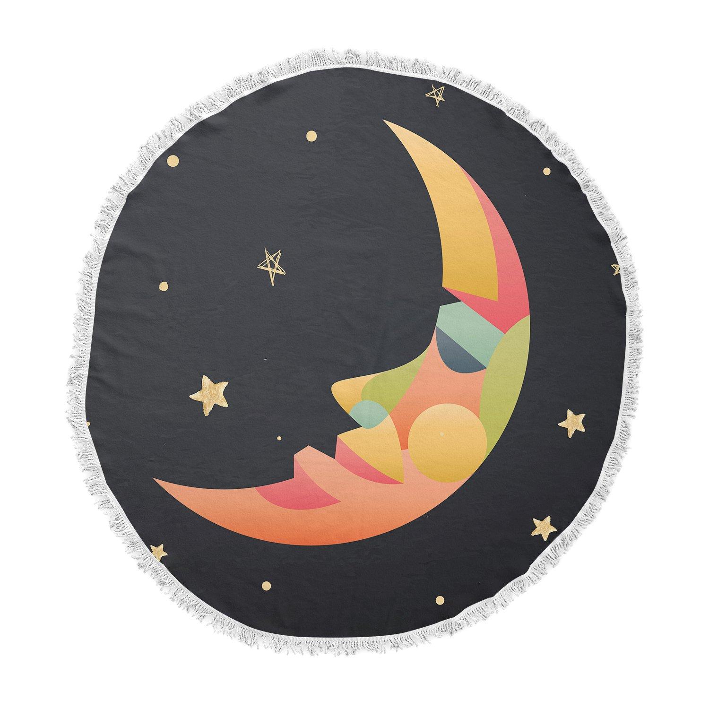 Kess InHouse Fotios Pavlopoulos Colorful Moon Black Gold Celestial Nature Mixed Media Illustration Round Beach Towel Blanket