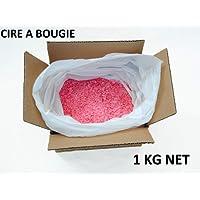 allcm : Cire a Bougie - Rose - 1kg - 80% Paraffine et 20% Stéarine + 1 mètre de mèche. Mélange idéal pour la Fabrication de Bougie décorative.