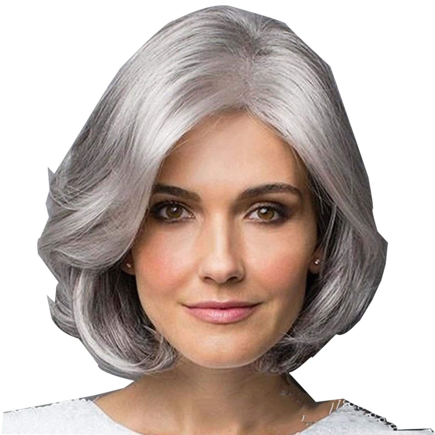 Upinva Medium Finger Wave Spiral Curls Older Women Short Gray Messy Curly Synthetic Hair Heat Resistant Elegant Full Ombre Wig Natural As Real Seniors Hair Wigs for Daily Use,Silver Grey