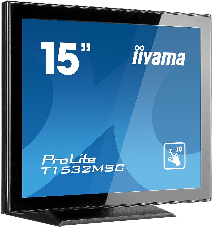 "liyama Prolite T1532MSC-B5X - Monitor LED XGA da 15"", multitouch capacitivo (VGA, HDMI, DisplayPort, USB per Touch, IP54, Glare) nero"