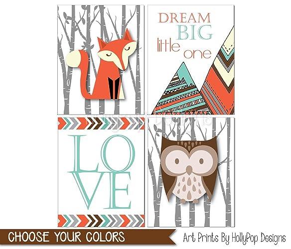 Woodland Nursery Art, Fox Art Prints, Fox Nursery Decor, Owl Print,  Woodland Theme Room, Dream Big Fox Artwork, Woodland Baby Art, Kids Room    Set Of 4 ...
