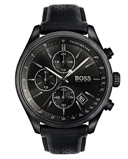 68057be61 HUGO BOSS 1513474 Men Chronograph Quartz Watch with Leather Strap, Black:  Amazon.co.uk: Watches