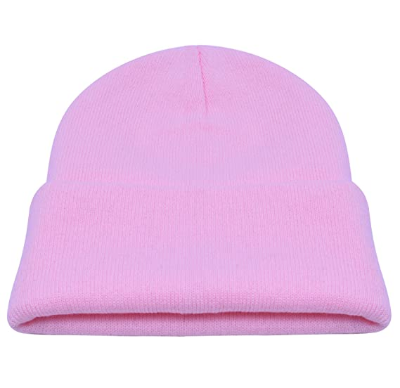 ef09fde4913 Image Unavailable. Image not available for. Color  PZLE Neon Pink Hat  Winter Women s Knit Hat Mens Stocking Cap Warm ...