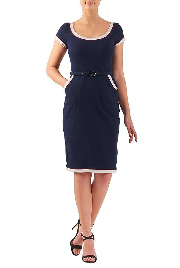 Wiggle Dresses eShakti Womens Contrast trim cotton knit belted sheath dress $49.95 AT vintagedancer.com