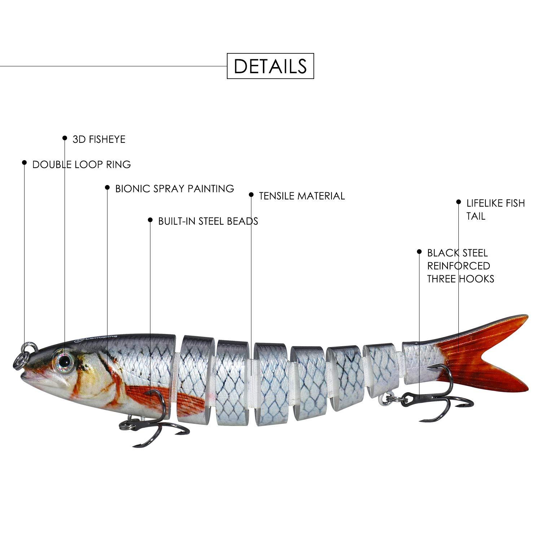 Larruping 6 Pcs Fishing Lure Set Multi Jointed Segment 3D Lifelike Hard Bait Crankbait Treble Hooks Sinking Lure for Bass Trout Perch