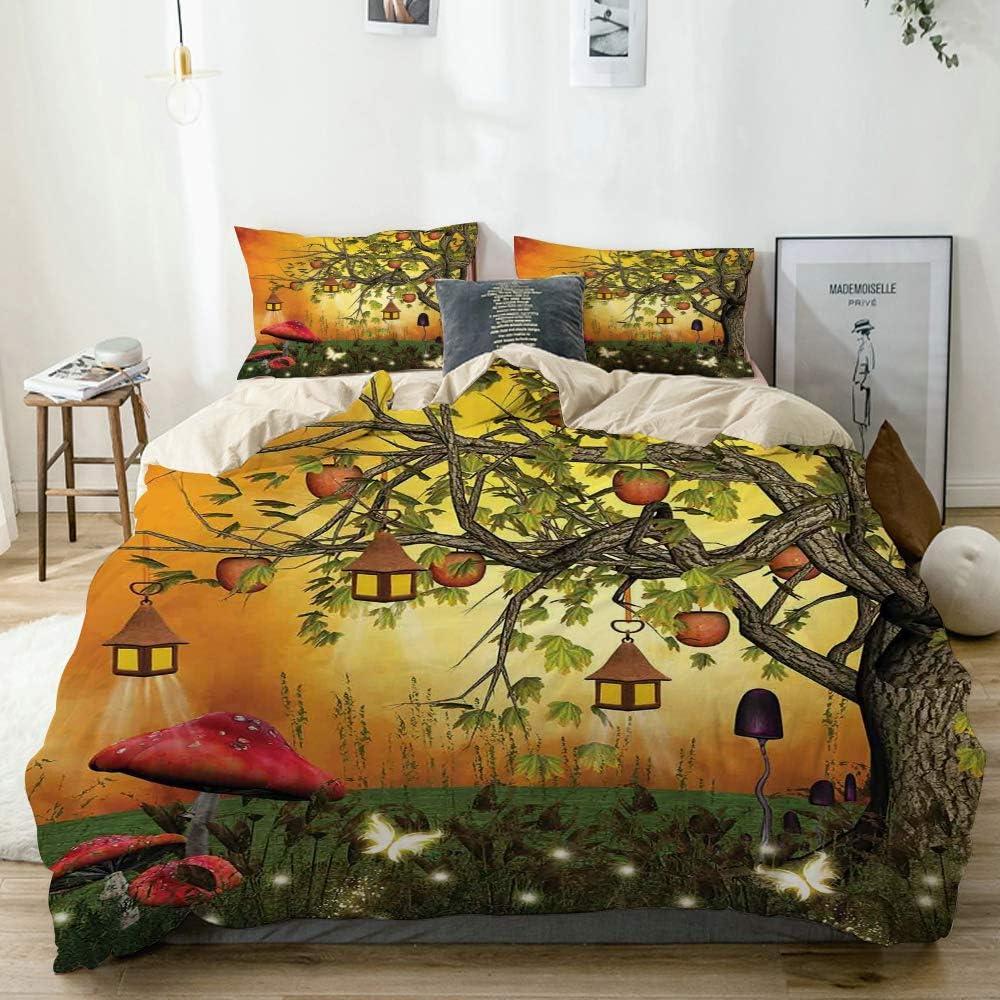 JOSENI Duvet Cover Set Wonderland Forest with Fairies Butterflies Elves and Apple Tree Magical Universe Beige Decorative 3 Piece Bedding Set with 2 Pillow Shams Queen Size