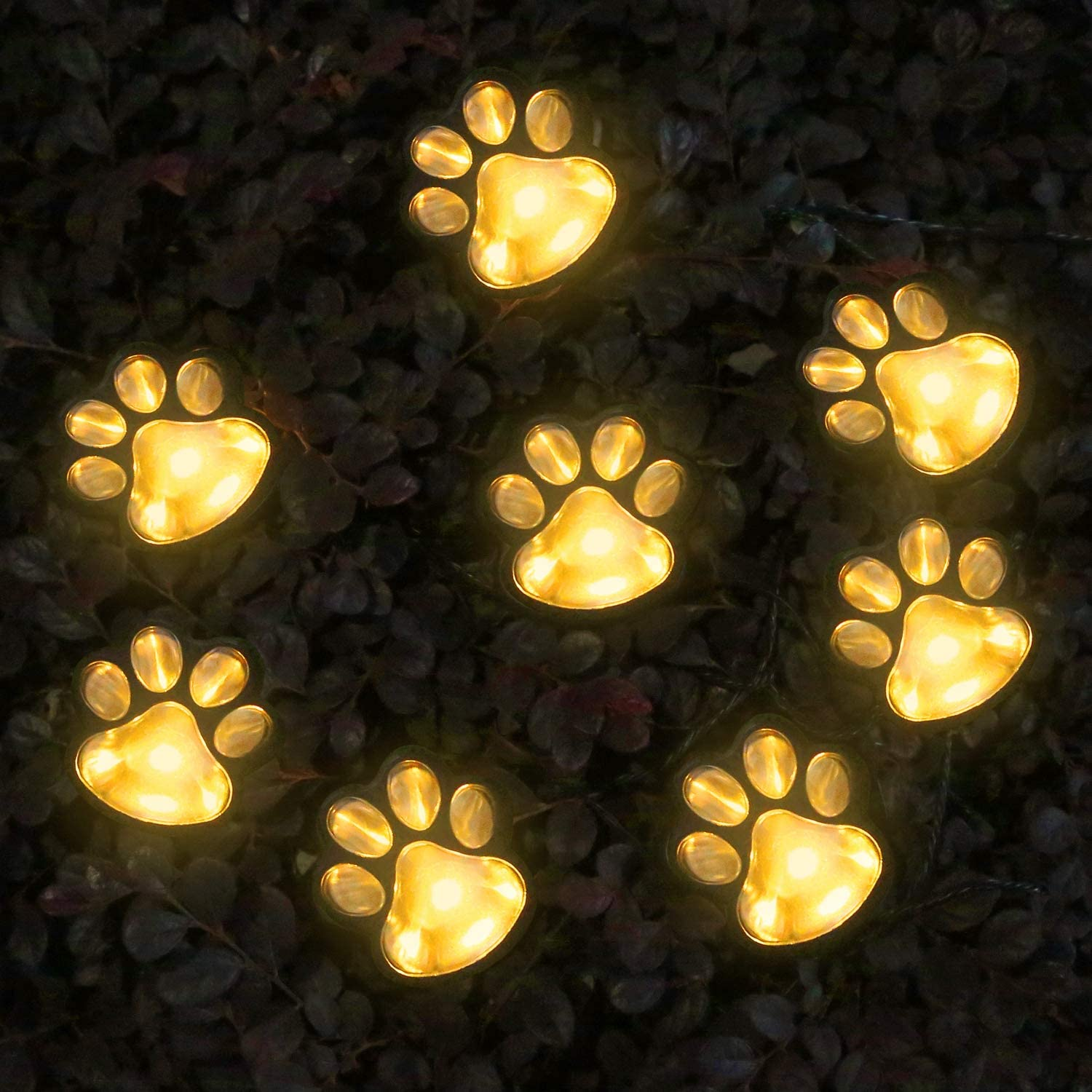 AIDDOMM Solar String Lights Outdoor 8 LEDs, Paw Print Lights, Waterproof, Warm White, 21 Feet, 8 Modes