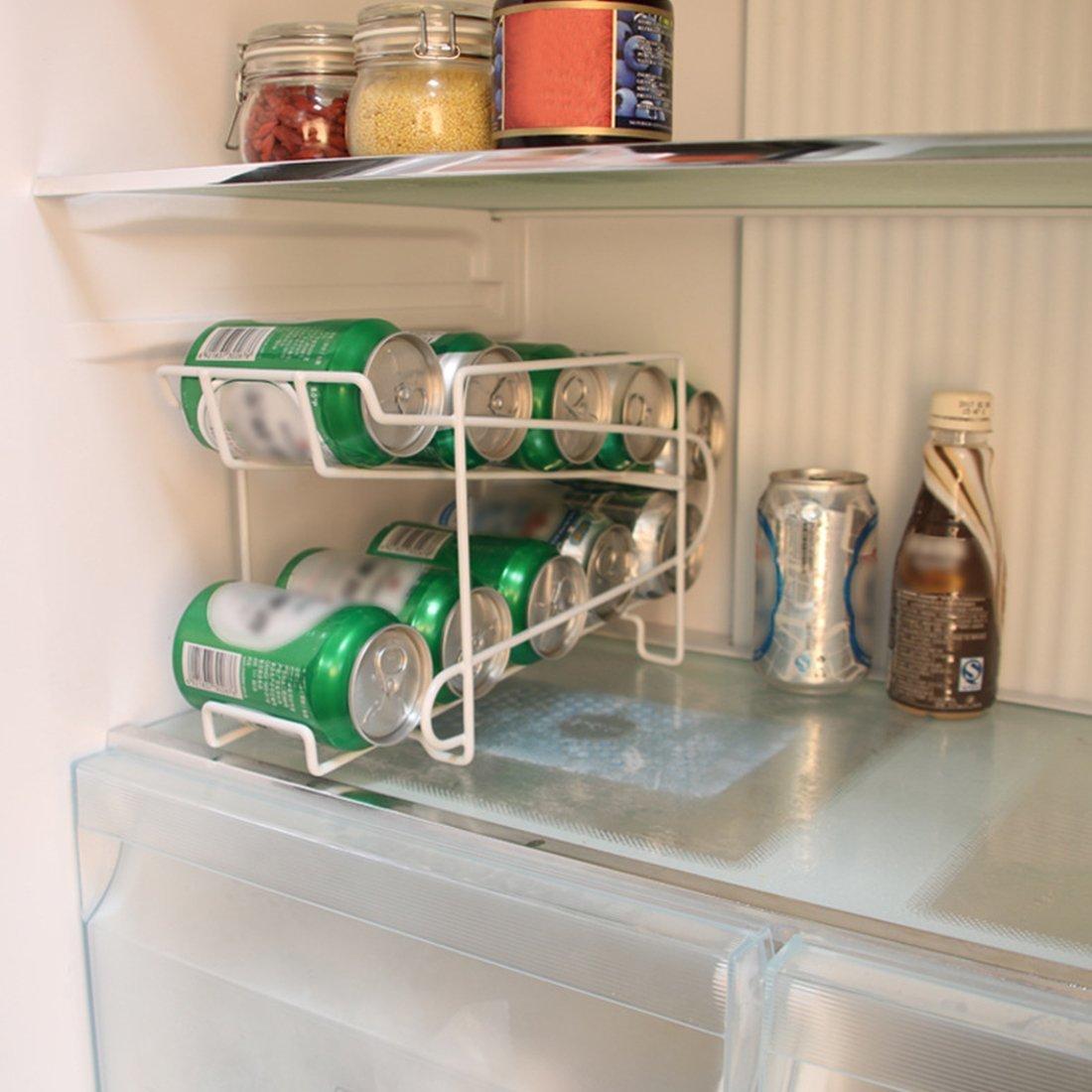 Woopower 2/Tier apilable bandeja de bebidas de almacenamiento Rack organizador de accesorio de cocina nevera frigor/ífico partido Holder Lata cerveza bebidas dispensador contenedor