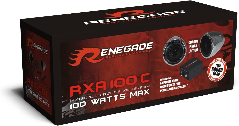 Chrome Set of 2 Renegade RXA-100C Powersports Sound System
