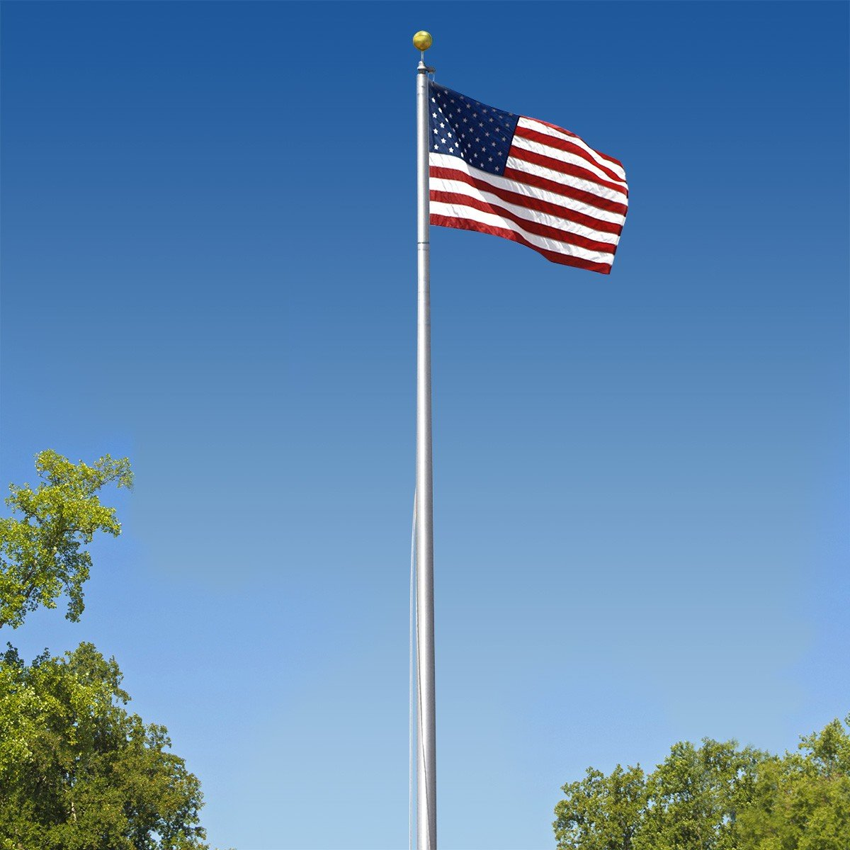 Super Tough Commercial Grade Sectional 20ft. Flagpole - Satin Finish - US Made by Super Tough
