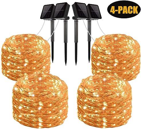 Solar String Lights 2 Pack 100 LED Solar Fairy Lights 33 feet 8 Modes Copper Wir