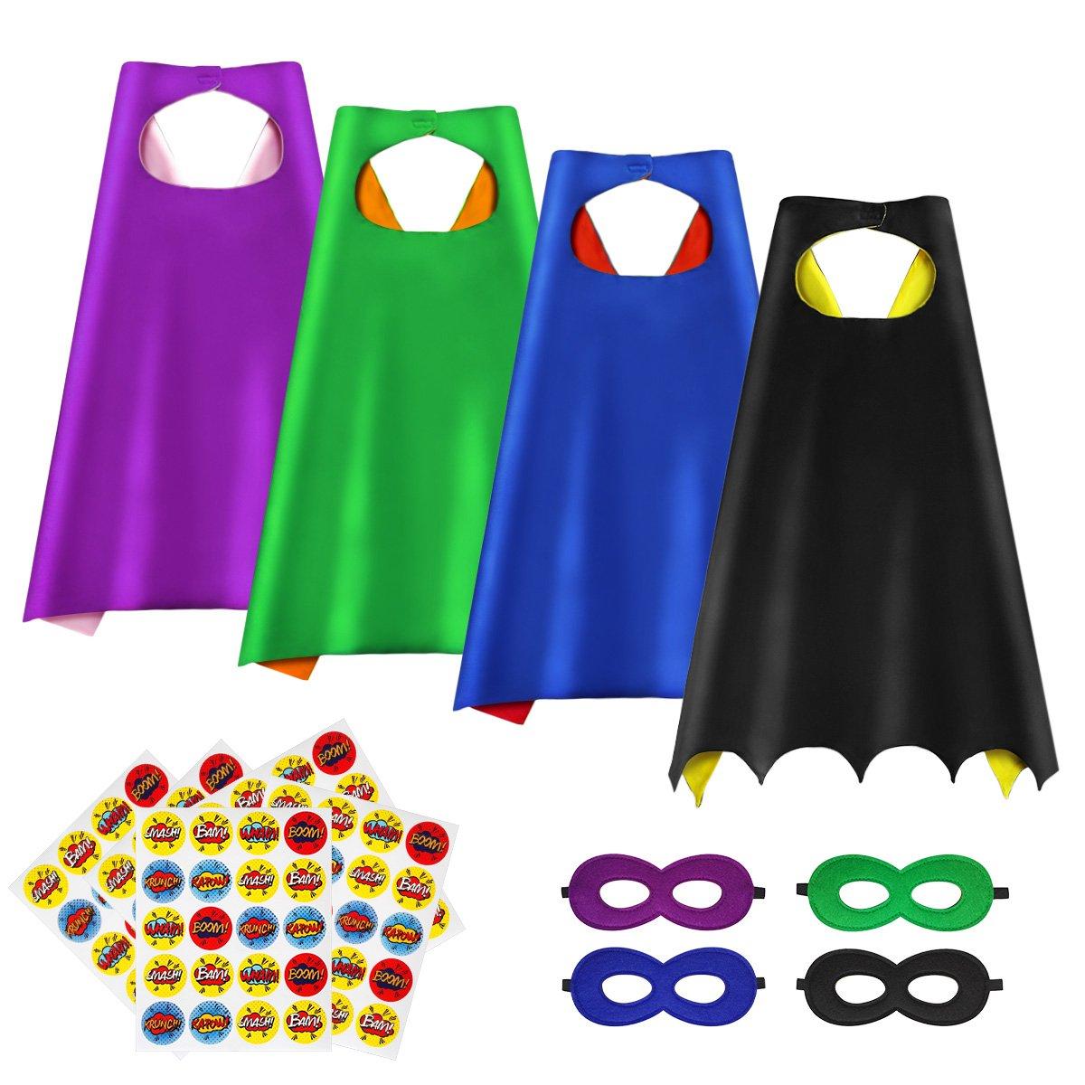 Superhero Capes, DIY Kids Capes & Masks Set, 4Packs with 100 Superhero Stickers
