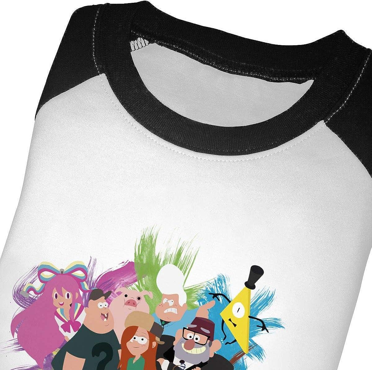 Gravity Falls Children Boys Girls Round Necklace Raglan 3//4 Sleeve Shoulder Shirt Baseball T-Shirt