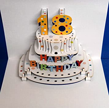 Pop Up 3D Birthday Cards 18 18Th 21st 30th 40th 50th 60th 70th 80th 90th Present Cake 16x11 Cm Amazoncouk Office Products