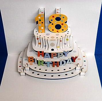 Pop Up 3d Karte Geburtstagskarte 18 Geburtstag Gutschein Torte