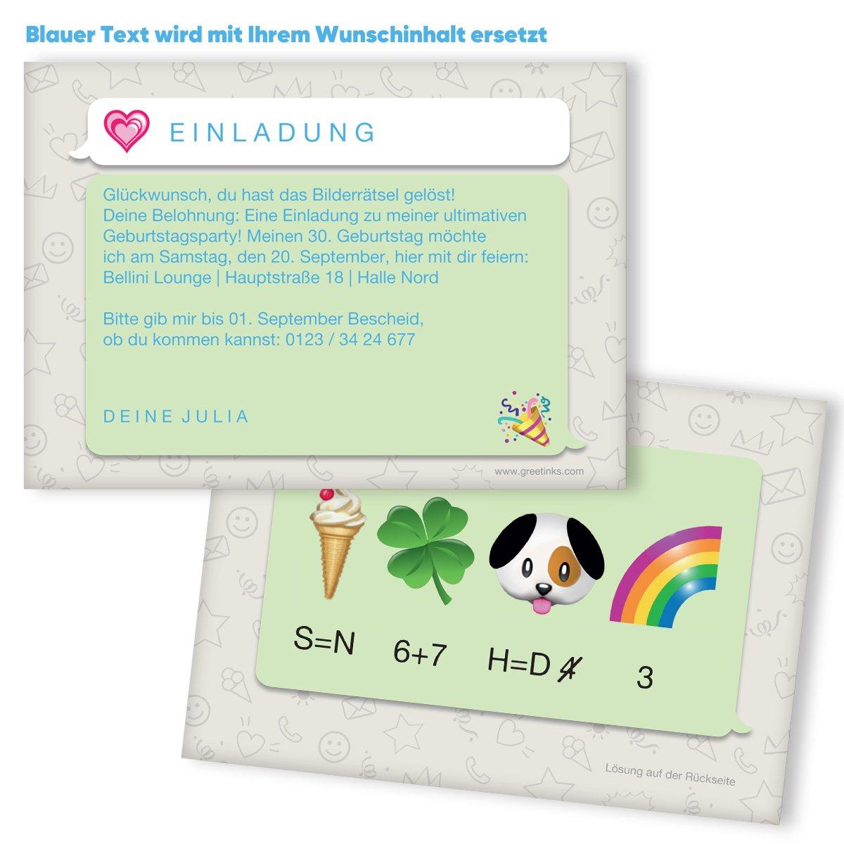 Einladungskarten Geburtstag Bilderrätsel 20 Stück Emoji Inkl
