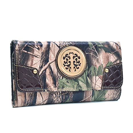 Western Bags & Wallets Faux Patent Tri-Fold Wallet para Mujer Promedio Negro
