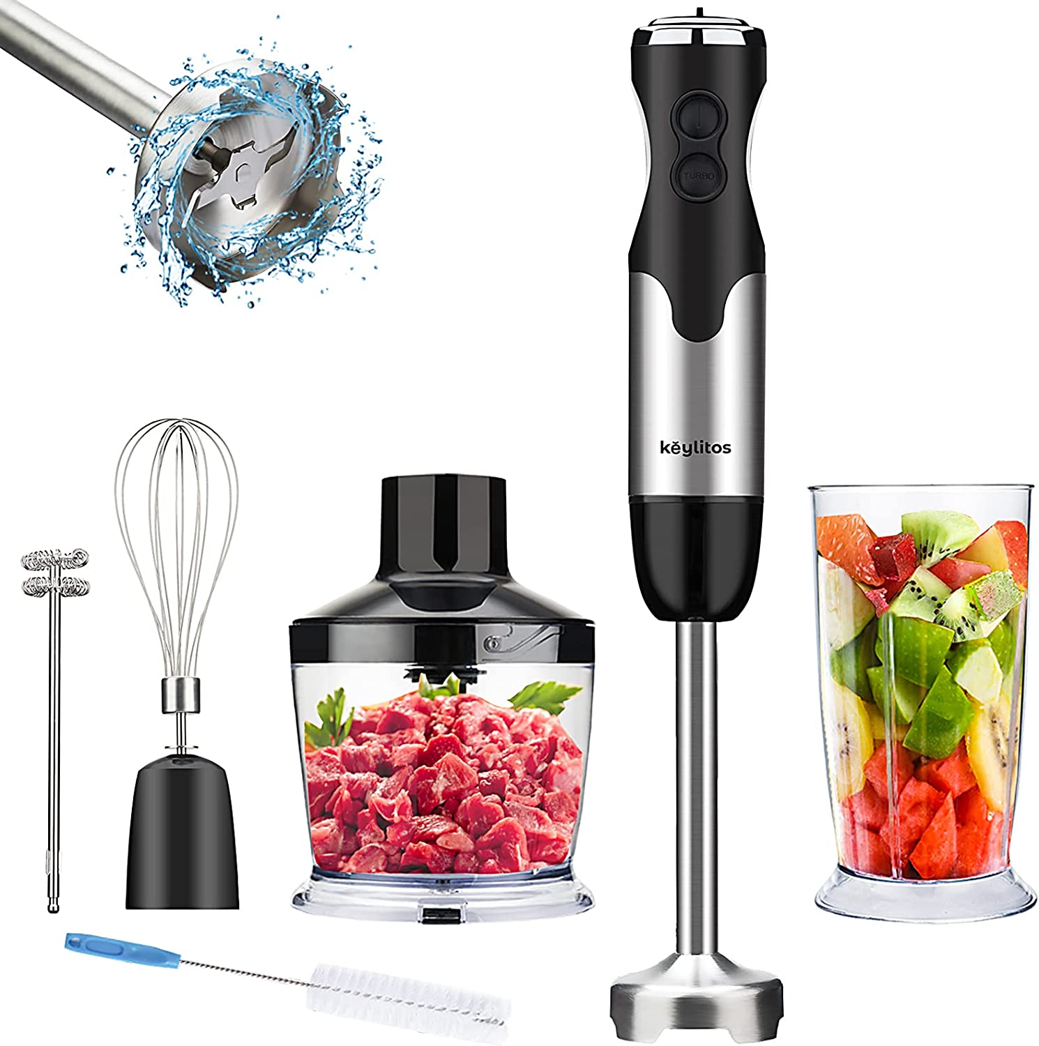 5-in-1 Immersion Hand Blender, Powerful 800W 12-Speed Handheld Stick Blender with Stainless Steel Blades, with Chopper, Beaker, Whisk and Milk Frother for Smoothie, Baby Food, Sauces Red,Puree, Soup