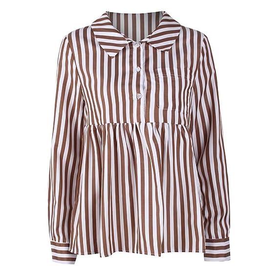 DAYLIN Camiseta de Rayas Mujer Moda Manga Larga Suelto Top Blusa T-Shirts para Otoño