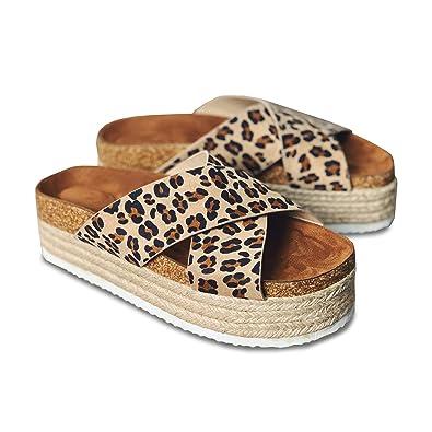 c4a42190f5 Women's Platform Espadrilles Criss Cross Slide-on Open Toe Faux Leather  Studded Summer Sandals