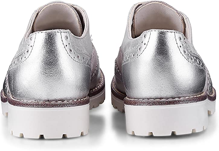 DRIEVHOLT Damen Damen Oxford Schnürschuh aus Leder, Silberne