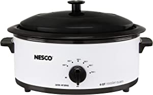 Nesco 4816-14 Porcelain Roaster Oven, 6 quart, White