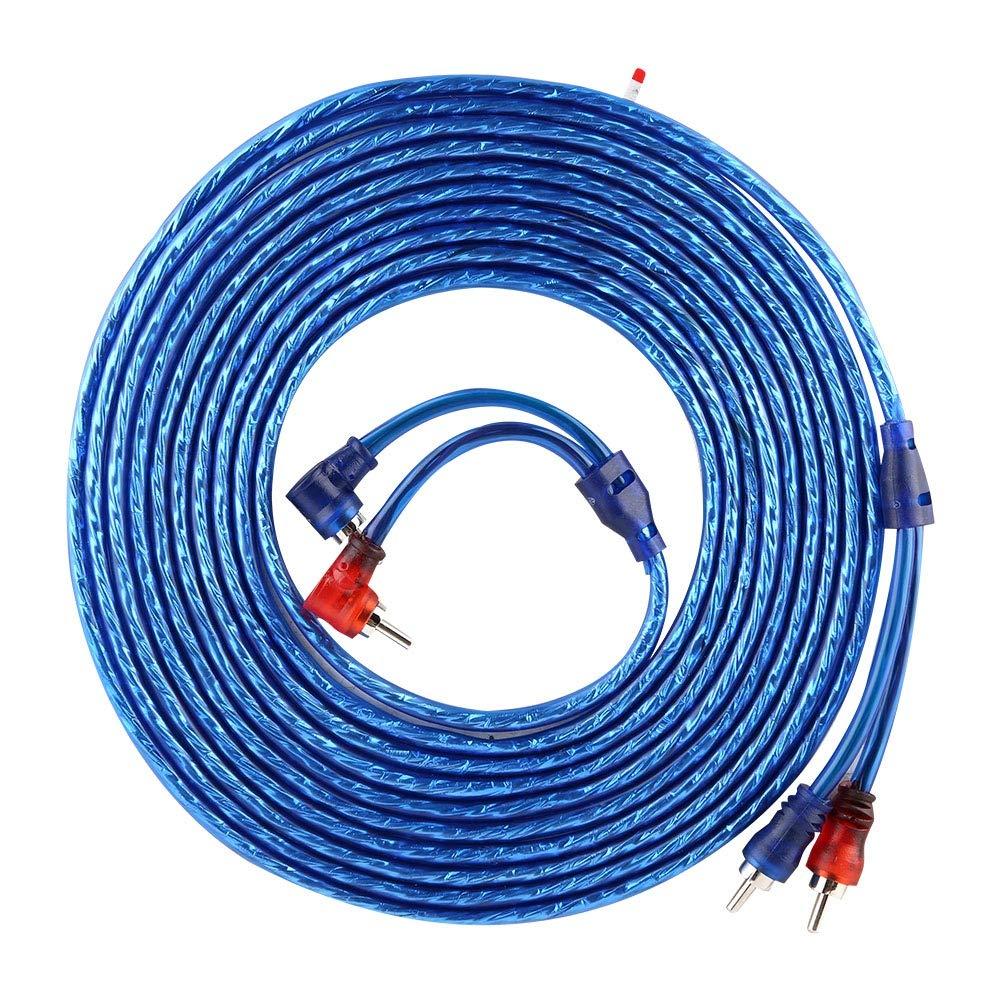 RCA Audio Cable 5 Meter AUTO Car Blue Transparent RCA Audio Interconnect Cable Ultra Flexible