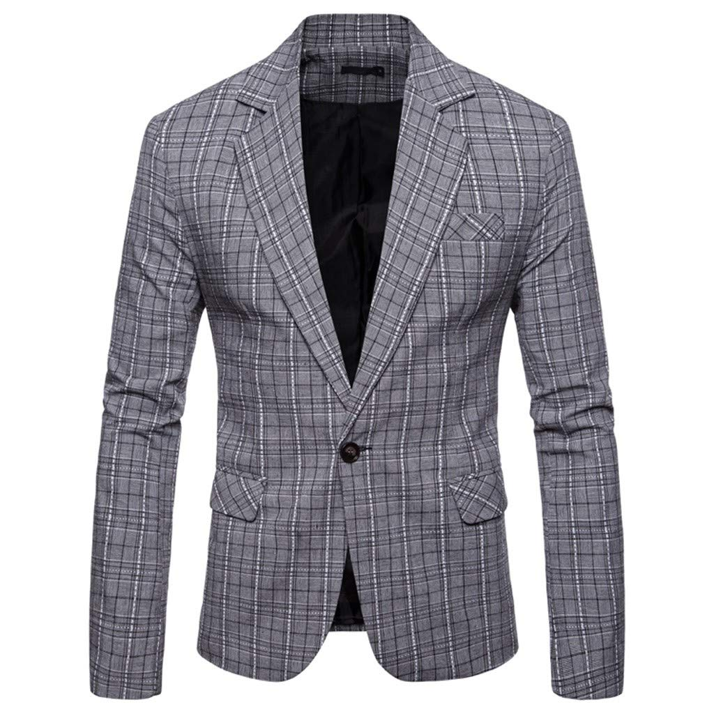 Men's Linen Blazer Lightweight Casual Solid One Button Slim Fit Sport Coat for Weddings Prom Party Dinner Tuxedo M-3XL by VEZARON