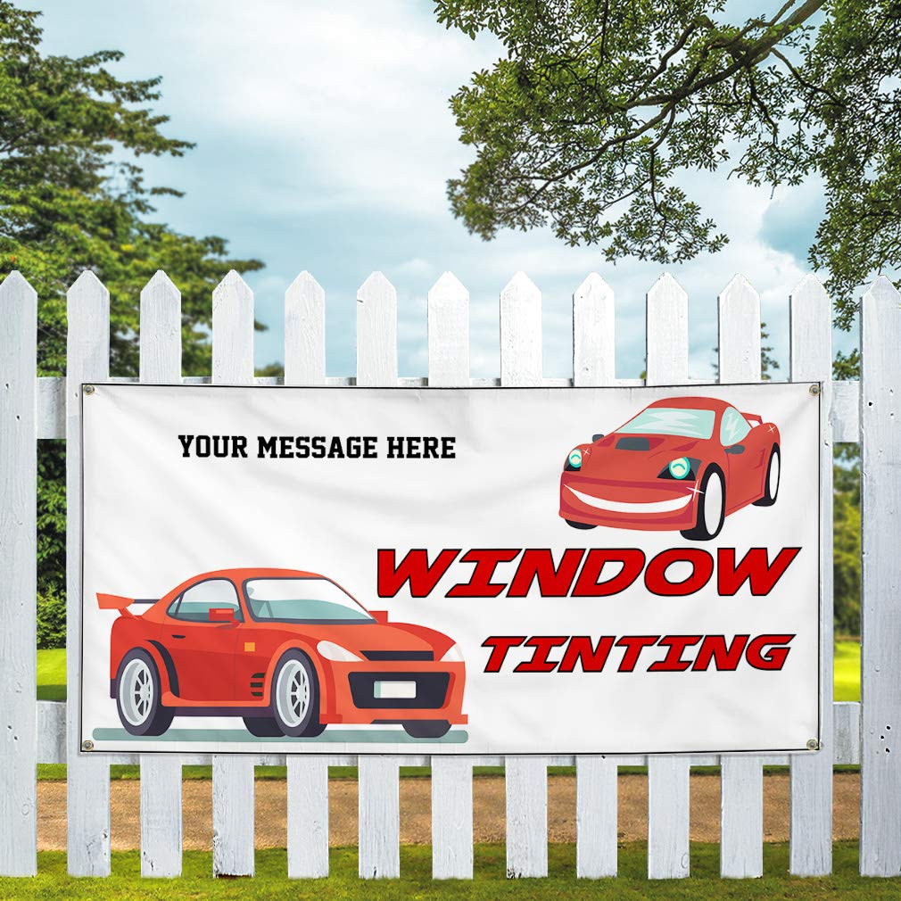Custom Industrial Vinyl Banner Multiple Sizes Window Tinting Personalized Text Automotive Outdoor Weatherproof Yard Signs Red 10 Grommets 56x140Inches
