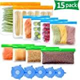 Reusable Silicone Food Storage Bags, Reusable Sandwich Bags Bpa Free Reusable Freezer Ziplock Snack Bags Extra Thick for Kids Lunch Meat, Fruit (15pack)