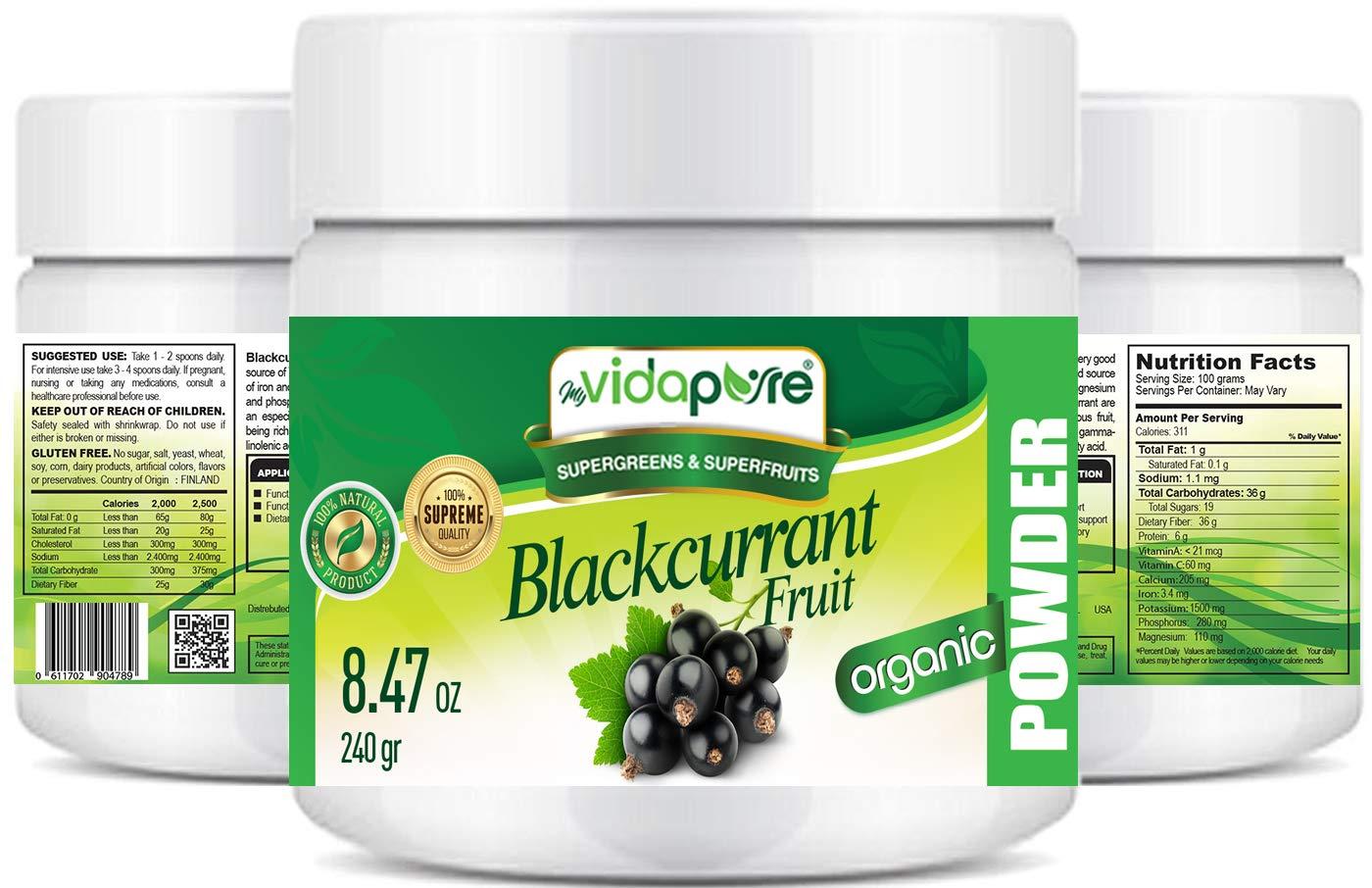 Polvo de grosella negra orgánica myVidaPure. 100% Pure RAW Suplemento dietético Green Superfood Powder Gluten Free Non GMO para hornear, cocinar, piel, ...
