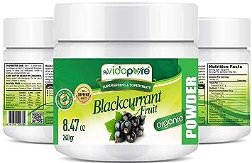 Polvo de grosella negra orgánica myVidaPure. 100% Pure RAW Suplemento dietético Green Superfood Powder