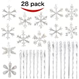 "28 Pcs Collectable 2.4"" Glass Iridescent Snowflake and Icicle Ornaments for Chirstmas Tree Decorations with Bonus Pakcage boxes By Joiedomi"