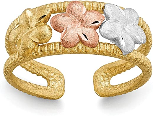 14 kt Yellow Gold 14k Two-tone /& Rhodium Plumeria Toe Ring