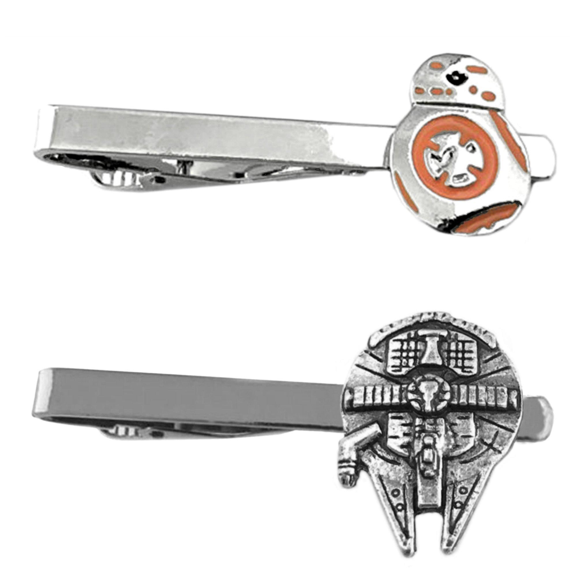Outlander Star Wars - BB-8 Silver Metal & Millenium Falcon - Tiebar Tie Clasp Set of 2 Wedding Superhero Logo w/Gift Box